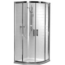KOLO GEO 6 кабина полукруглая 80 x 80 см, двери раздвижные, закаленное стекло PRISMATIC, серебряный блеск (кабина состоит из частей 1/2 +2/2)  (GKPG80205003)