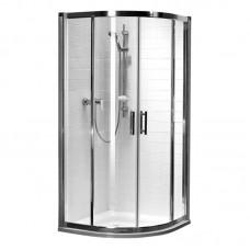 KOLO GEO 6 кабина полукруглая 90 x 90 см, двери раздвижные, закаленное стекло PRISMATIC, серебряный блеск (кабина состоит из частей 1/2 +2/2)  (GKPG90205003)