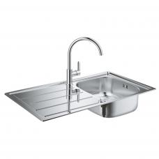 Комплект Grohe 31562SD0 : Кухонная мойка K200 31552SD0 860х500 мм + смеситель Bau Edge 31367000