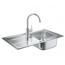 Комплект Grohe 31570SD0 : Кухонная мойка K400 31566SD0 860х500 мм + смеситель Concetto 32663001