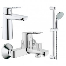 Набор смесителей для умывальника, ванны и душевая стойка M-Size Grohe BauLoop 123215M