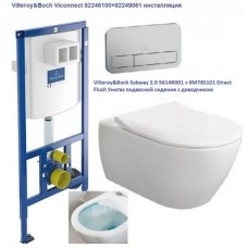 Villeroy & Boch 92246100+92249061+5614R001+9M78S101 Subway унитаз подвесной с крышкой Slim + инсталяция + кнопка хром