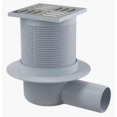 Сливной трап AlcaPlast APV1 105x105/50, подводка – боковая, решетка – нержавеющая сталь, гидрозатвор – мокрый