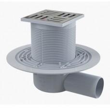 Сливной трап AlcaPlast APV101 105x105/50, подводка – боковая, решетка – нержавеющая сталь, гидрозатвор – мокрый