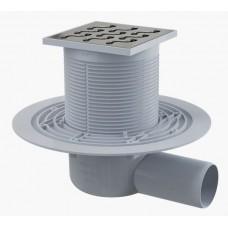 Сливной трап AlcaPlast APV102 105x105/50, подводка – боковая, решетка – нержавеющая сталь, гидрозатвор – мокрый
