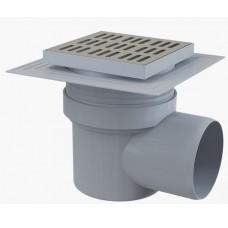 Сливной трап AlcaPlast APV12 150x150/110, подводка – боковая, решетка – нержавеющая сталь, воротник – 2-х уровневая изоляция, гидрозатвор – мокрый