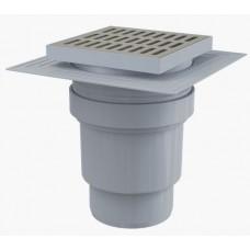 Сливной трап AlcaPlast APV13 150x150/110, подводка – прямая, решетка – нержавеющая сталь, воротник – 2-х уровневая изоляция, гидрозатвор – мокрый