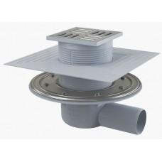 Сливной трап AlcaPlast APV1324 105x105/50, подводка – боковая, решетка – нержавеющая сталь, фланец –нержавеющая сталь, воротник – 2–х уровневая изоляция, гидрозатвор – комбинированный гидрозатвор SMART