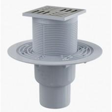 Сливной трап AlcaPlast APV201 105x105/50/75, подводка – прямая, решетка – нержавеющая сталь, гидрозатвор – мокрый