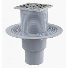 Сливной трап AlcaPlast APV202 105x105/50/75, подводка – прямая, решетка – нержавеющая сталь, гидрозатвор – мокрый