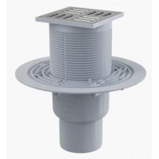 Сливной трап AlcaPlast APV2321 105x105/50/75, подводка – прямая, решетка – нержавеющая сталь, гидрозатвор – комбинированный гидрозатвор SMART