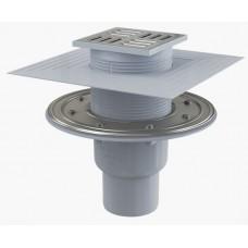 Сливной трап AlcaPlast APV2324 105x105/50/75, подводка – прямая, решетка – нержавеющая сталь, фланец –нержавеющая сталь, воротник – 2–х уровневая изоляция, гидрозатвор – комбинированный гидрозатвор SMART