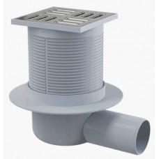 Сливной трап AlcaPlast APV31 105x105/50, подводка – боковая, решетка – нержавеющая сталь, гидрозатвор – комбинированный гидрозатвор SMART