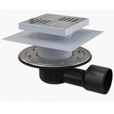 Сливной трап AlcaPlast APV3444 150x150/50/75, подводка – боковая, решетка – нержавеющая сталь, фланец –нержавеющая сталь, воротник – 2–х уровневая изоляция, гидрозатвор – сухой и мокрый