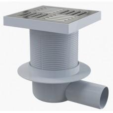 Сливной трап AlcaPlast APV5411 150x150/50, подводка – боковая, решетка – нержавеющая сталь, гидрозатвор – мокрый