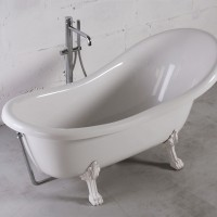 Ванна Fancy Marble Lady Hamilton из литого камня на белых ножках. Размер ванны 1760x820x810 мм (без сифона)