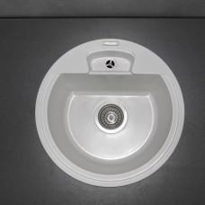 Круглая гранитная кухонная мойка Fancy Marble Valencia 450х450х190 мм ,цвет на выбор: белый, светло-черный ,песочный