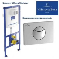 Инсталляция для подвесного унитаза Villeroy&Boch ViConnect 92246100 с клавишей ViConnect E100 хром 92248561