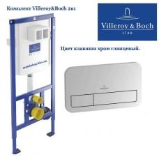 Инсталляция для подвесного унитаза Villeroy&Boch ViConnect 92246100 с клавишей ViConnect E200 хром 92249061
