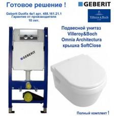 Комплект инсталляции Geberit 458.161.21.1 + Villeroy&Boch Omnia Architectura 5684H101 подвесной унитаз + крышка Soft Closing