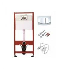 Комплект инсталляции для подвесного унитаза TECEbase kit 4в1 9400005 (модуль TECEbase + прокладка + крепеж + панель двойного смыва TECEambia 9240226 хром глянец)